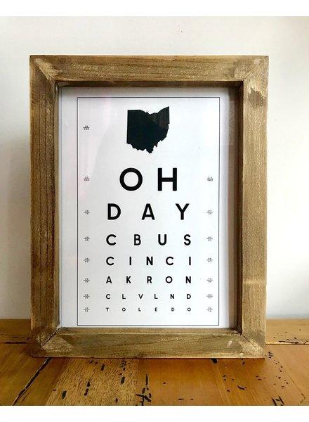 Contstructed Matter Framed Ohio eye Chart print