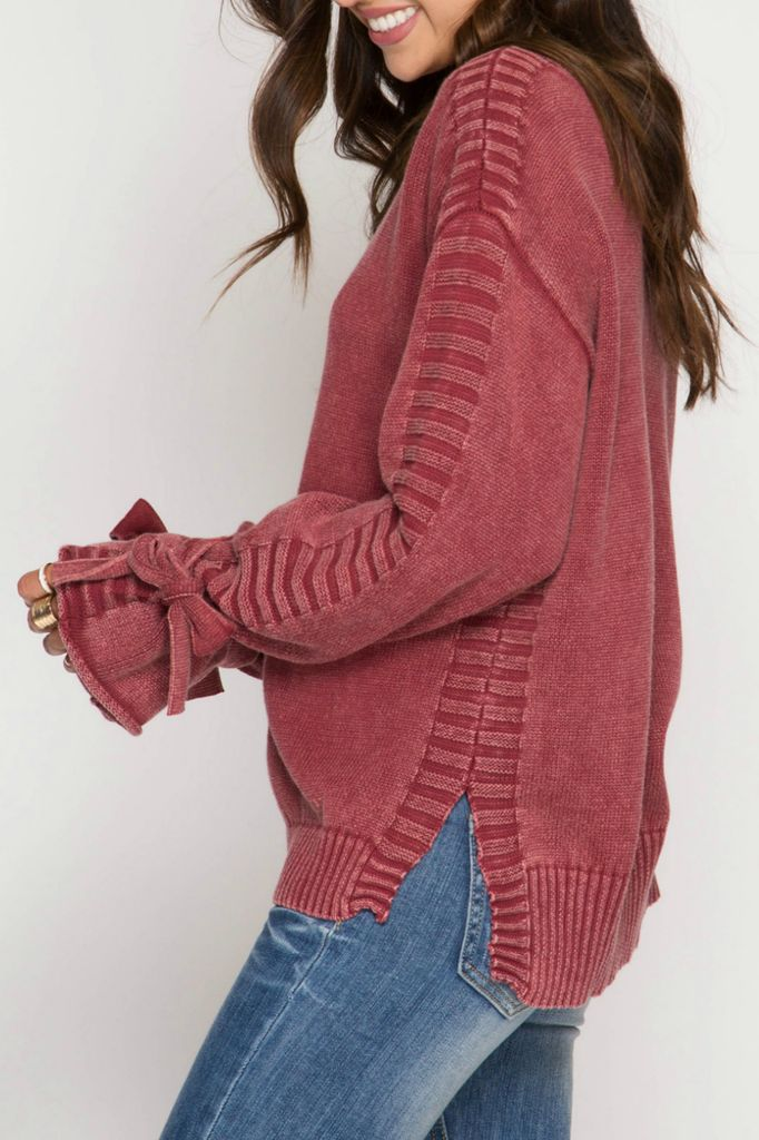 She Sky Sleeve Tie Sweater Trend Boutique
