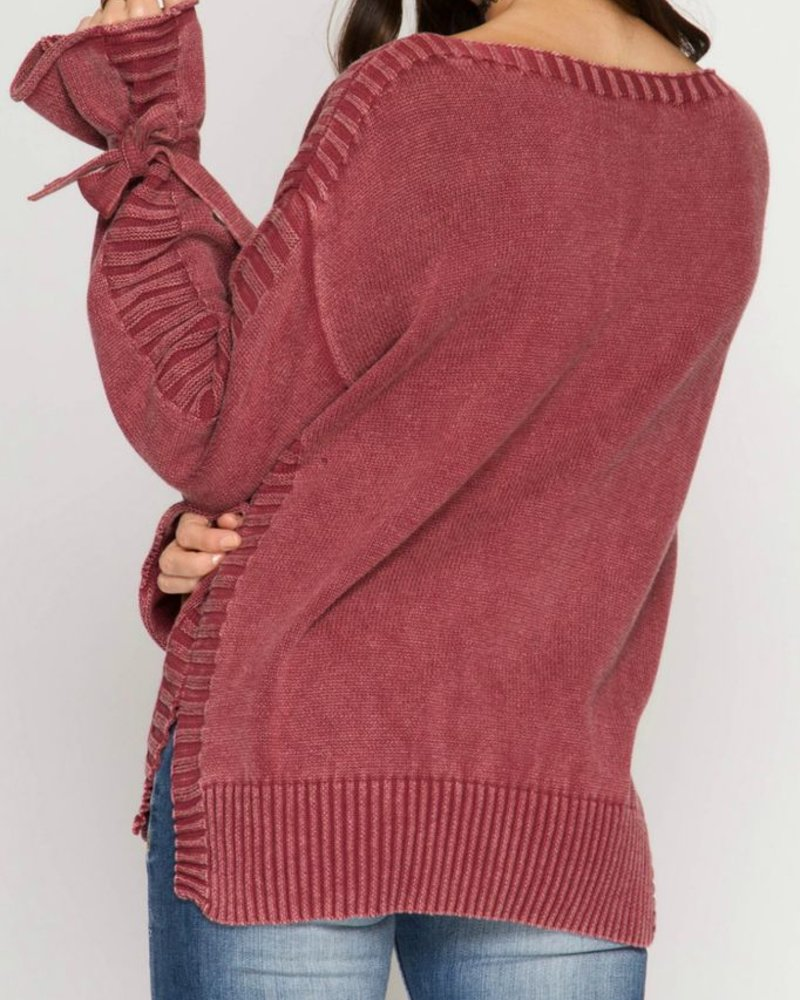 She & Sky Sleeve Tie Sweater