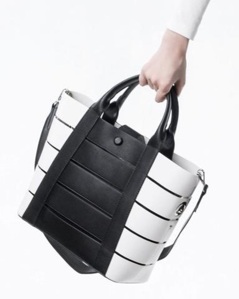 Melie Bianco Camille Striped Tote with Clutch
