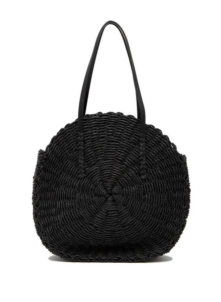 Melie Bianco Ciara Black Straw Shoulder Bag