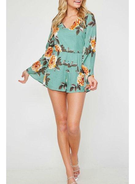 Peach Love CA Long Sleeve Floral Romper