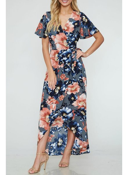 Peach Love CA Floral Print Maxi Dress