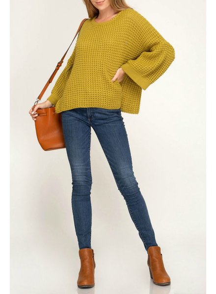 She & Sky Bell Sleeve Sweater