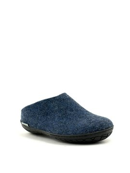 Glerups Slipper Black Rubber Sole Denim
