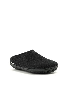 Men's Glerups Slipper Black Rubber Sole Charcoal