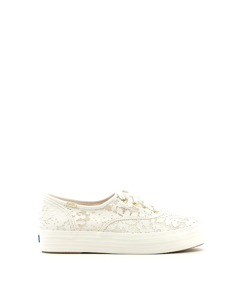 Keds Keds Triple Paint Crochet Sneaker Cream