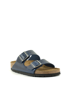 Birkenstock Arizona Waxy Leather Soft Footbed Narrow Width Blue