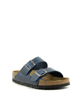 Birkenstock Arizona Soft Footbed Waxy Leather Regular Width Blue