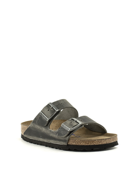 Birkenstock Arizona Waxy Leather Soft Footbed Narrow Width Iron
