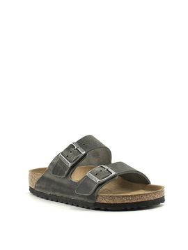 Birkenstock Arizona Iron Waxy Leather Soft Footbed Regular Width