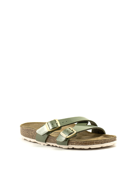 Birkenstock Yao Balance Sandal Birko Flor Patent Narrow Width Khaki