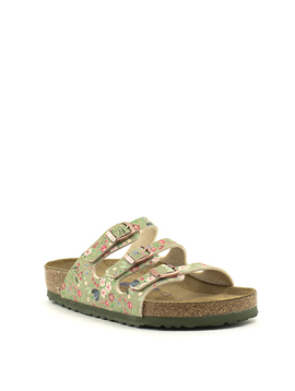 Birkenstock Florida Birko Flor Soft Footbed Regular Width Meadow Flowers Khaki