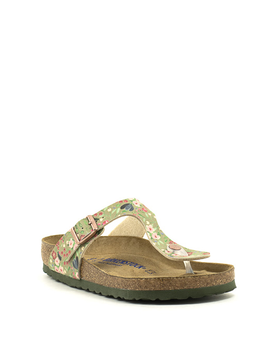 Birkenstock Gizeh Birko Flor Soft Footbed Regular Width Meadow Flowers Khaki