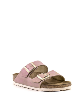Birkenstock Arizona Sandal Washed Metallic Pink Suede Narrow Footbed