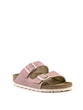 Birkenstock Birkenstock Arizona Sandal Washed Metallic Pink Suede Narrow Footbed