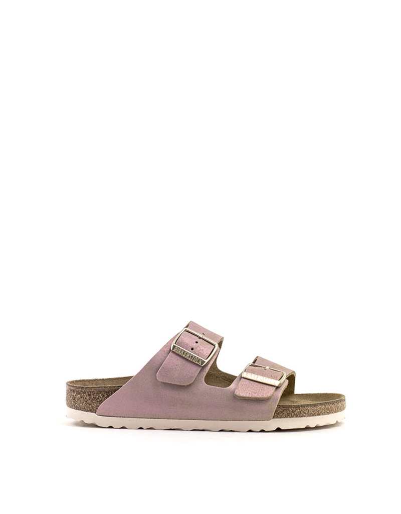 Birkenstock Birkenstock Arizona Sandal Washed Metallic Pink Suede Narrow Footbed