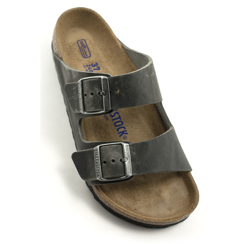 Birkenstock Birkenstock Arizona Iron Waxy Leather Soft Footbed Regular Width