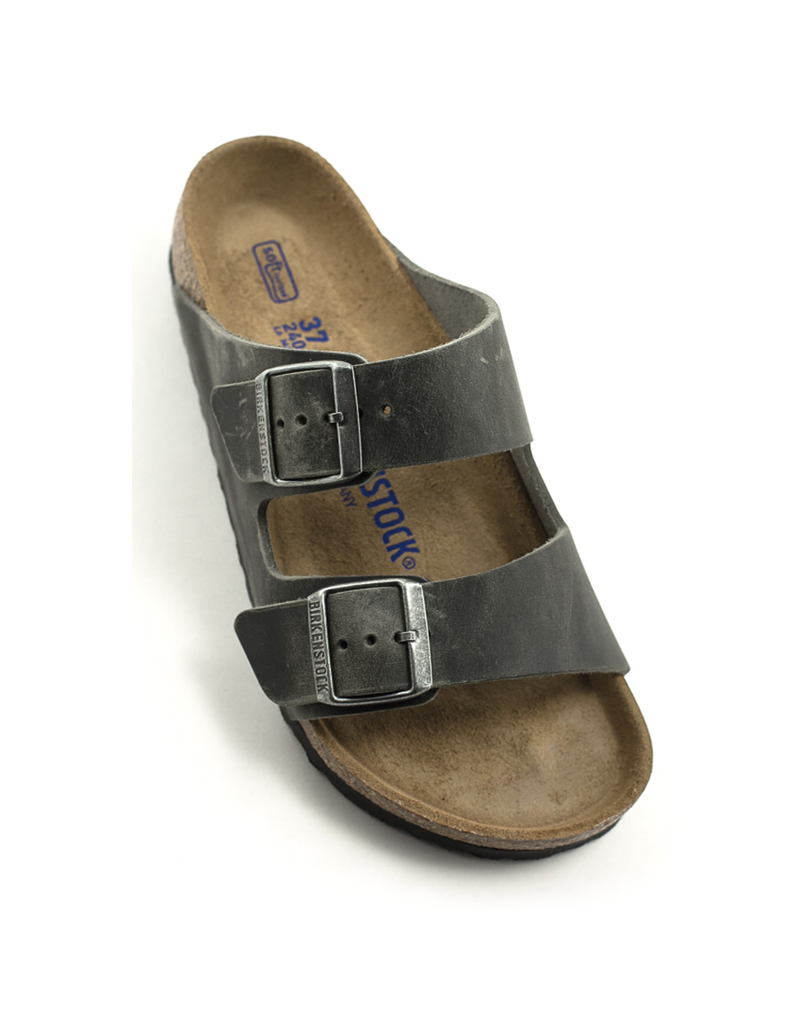 Birkenstock Birkenstock Arizona Iron Waxy Leather Soft Footbed Regular Width