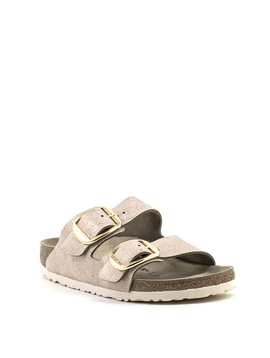 Birkenstock Arizona Big Buckle Washed Metallic Rose Gold Suede Narrow Width
