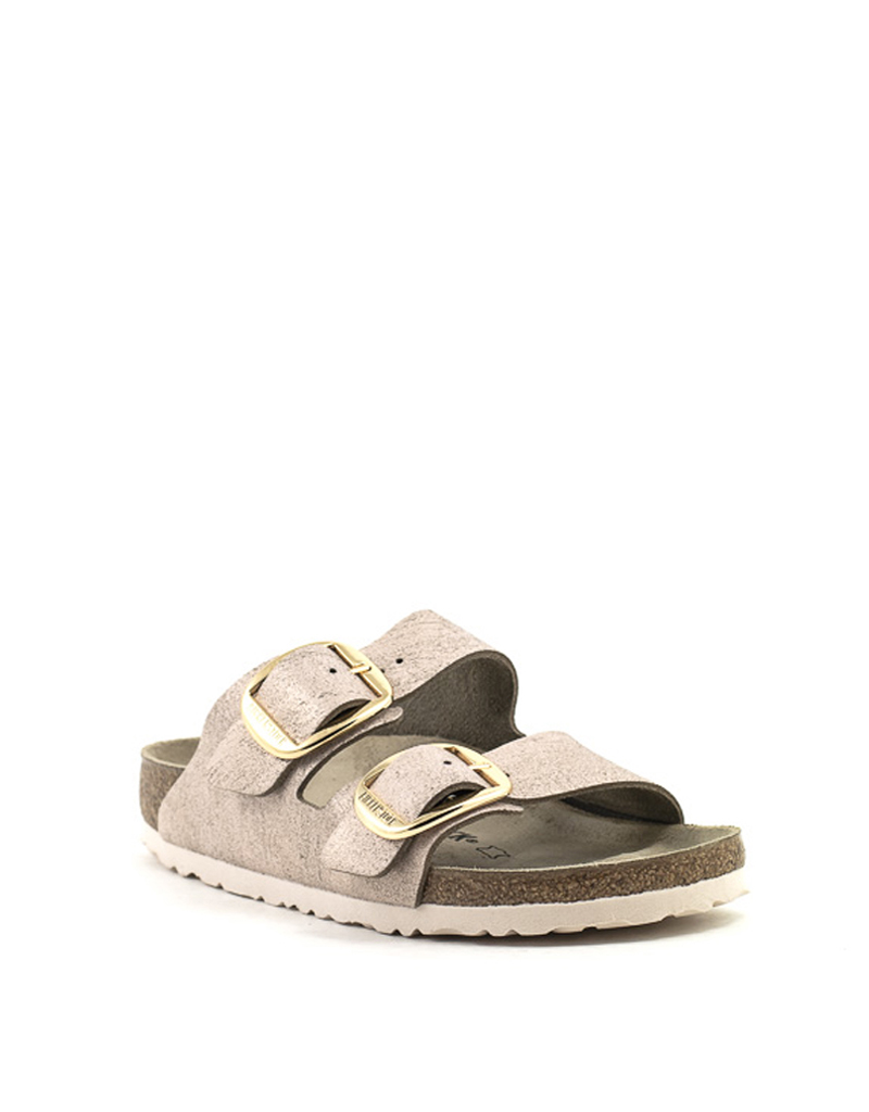 Birkenstock Birkenstock Arizona Big Buckle Washed Metallic Rose Gold Suede Narrow Width