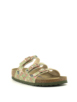 Birkenstock Florida Birko Flor Soft Footbed Narrow Width Meadow Flowers Khaki