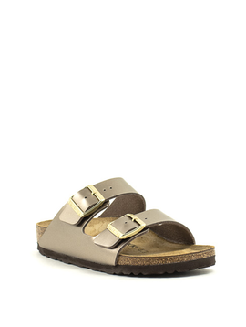 Birkenstock Arizona Birko Flor Narrow Width Electric Metallic Taupe