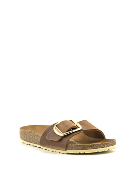 Birkenstock Madrid Big Buckle Leather Cognac Narrow Width