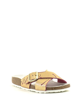 Birkenstock Siena Metallic Cuts Magenta Leather Narrow Footbed
