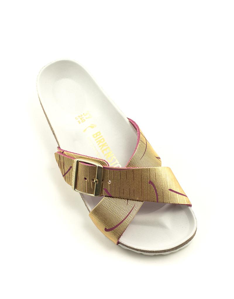 Birkenstock Birkenstock Siena Metallic Cuts Magenta Leather Narrow Footbed