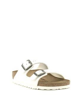 Birkenstock Arizona Birko Flor Narrow Width White/Antique Nickel Buckles