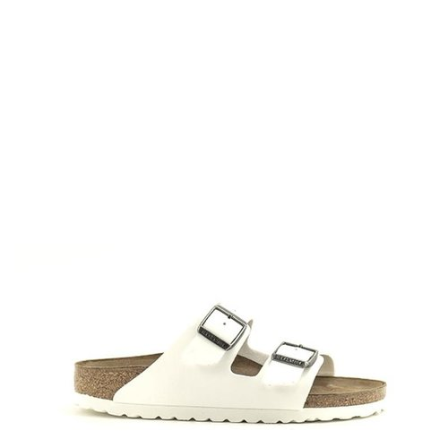 Birkenstock Birkenstock Arizona Birko Flor Narrow Width White/Antique Nickel Buckles