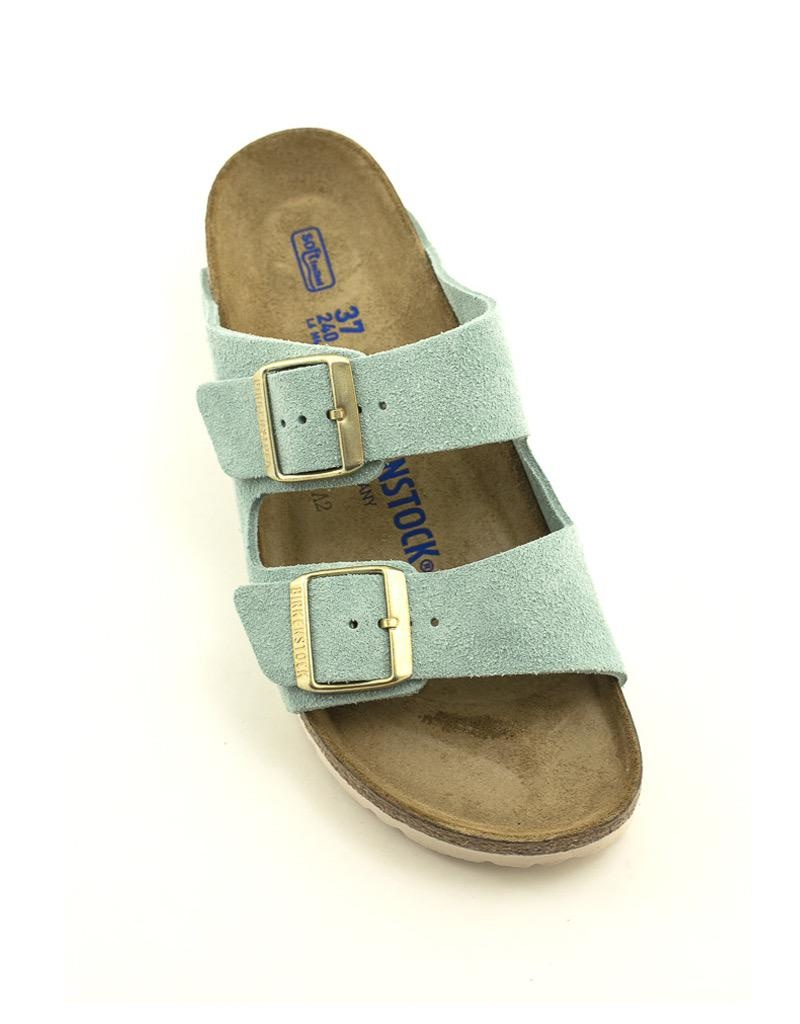 Birkenstock Birkenstock Arizona Light Blue Suede Leather Soft Footbed Narrow Width
