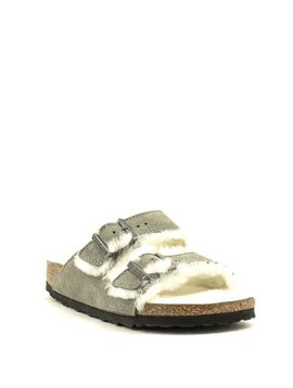 Birkenstock Arizona Shearling Suede Narrow Footbed Stone Coin