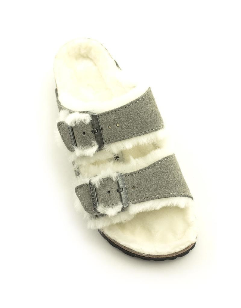 Birkenstock Birkenstock Arizona Shearling Suede Narrow Footbed Stone Coin
