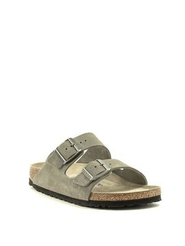 Birkenstock Arizona Suede Soft Footbed Narrow Width Stone Coin