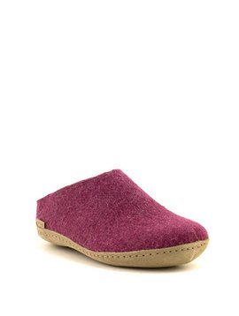 Glerups Slipper Suede Sole Cranberry