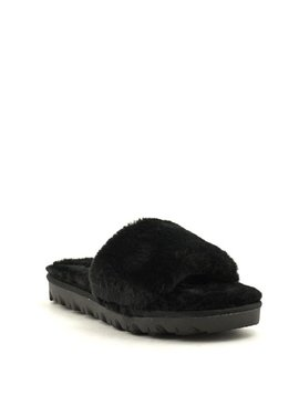 Chinese Laundry Rally Faux Fur Slipper Black