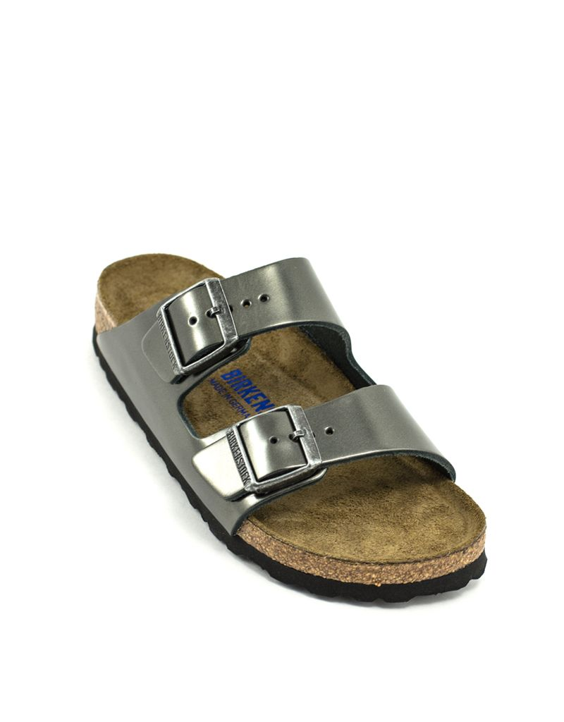 Birkenstock Birkenstock Arizona Metallic Anthracite Leather Soft Footbed Narrow Width