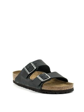 Birkenstock Arizona Black Oiled Leather Soft Footbed Regular Width