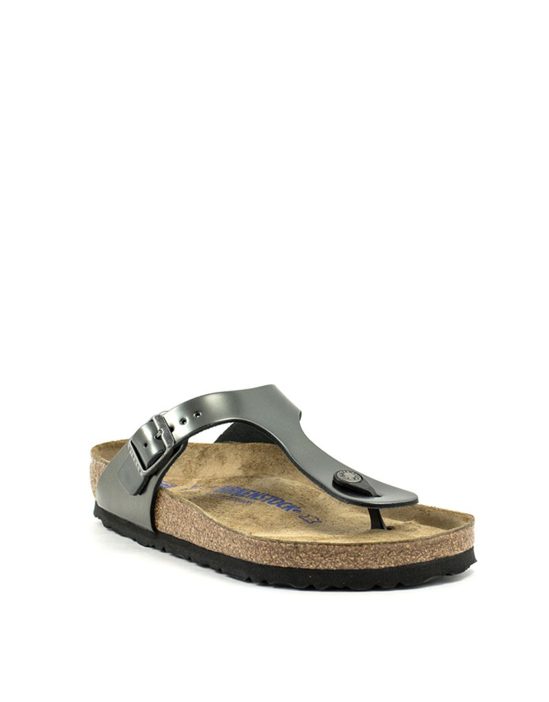 9cf135d3c06 Birkenstock Birkenstock Gizeh Anthracite Metallic Leather Soft Footbed  Regular Width