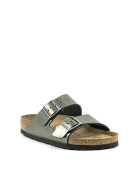 Birkenstock Arizona Metallic Anthracite Leather Soft Footbed Regular Width