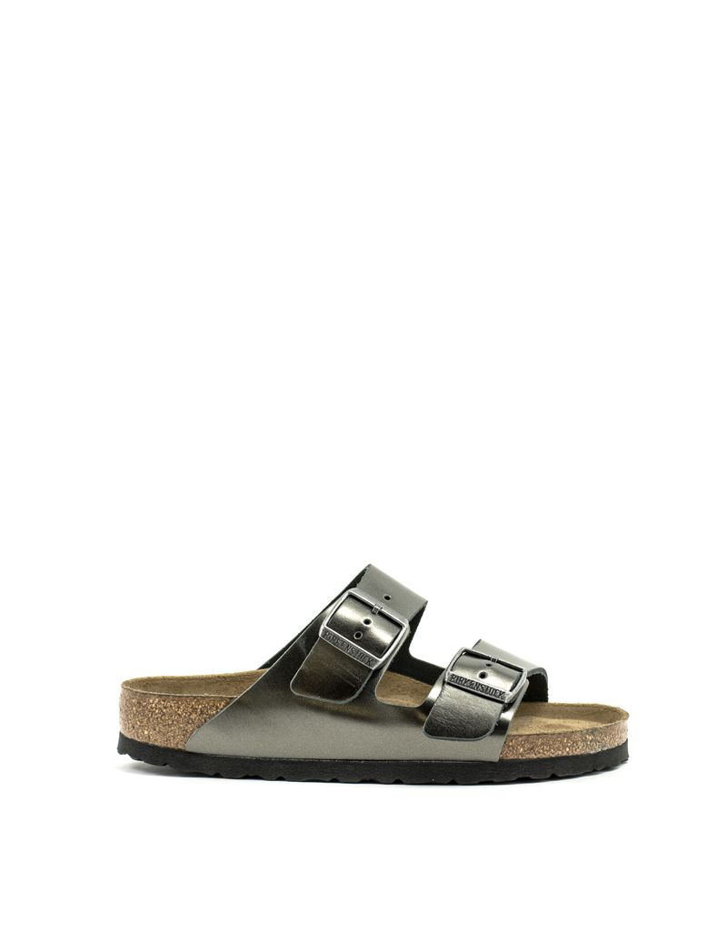 Birkenstock Birkenstock Arizona Metallic Anthracite Leather Soft Footbed Regular Width