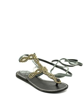 Laid Back London Henning Flat Sandal Black/Gold