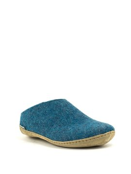 Glerups Slipper Suede Sole Petrol