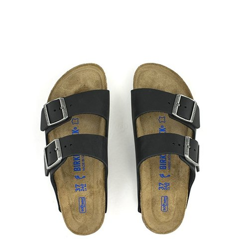 Birkenstock Birkenstock Arizona Black Waxy Leather Soft Footbed Regular Width