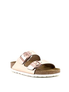 Birkenstock Arizona Copper Metallic Leather Soft Footbed Narrow Width