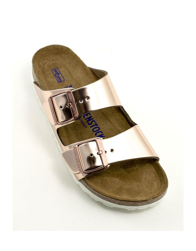 1cd353e40f30 Birkenstock Birkenstock Arizona Copper Metallic Leather Soft Footbed Narrow  Width