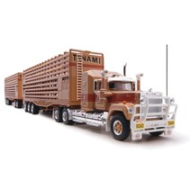highway replicas 1:64 TANAMI MACK 12010 Livestock Road Train<br /> <br /> Part of the Livestock Collection. Includes Prime Mover, Dolly, 2x Livestock Trailers and a numbered Certificate of Authenticity.