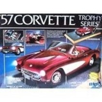 MPC 57 CORVETTE TROPHY  SERIES LARGE 1/16 SCALE REQUIRES 2 AA BATTERIES (NOT INCLUDED) WORKING HEADLIGHTS,TAILLIGHTS, CARPETED INTERIOR DISPLAY BAS WIRING  1-3041
